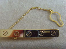 Tie clip - solid gold tie pin - yellow gold - 14kt - marked - yes.