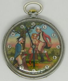 Pocket watch with erotic 18th century sex scene: 'a threesome in the park' - ca 1915