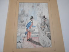 Rare - Watercolour signed by Albert Mazem 'La Quête', with autograph dedication of the artist