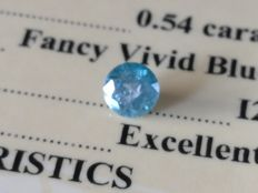 Diamond – 0.54 Carat Fancy Vivid Blue/ I2 - EXC/EXC/EXC ** No Reserve **