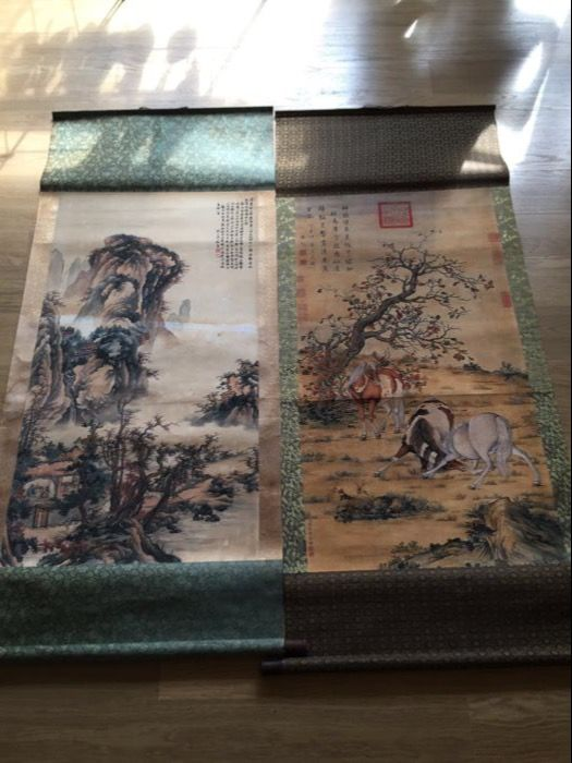 Two print scroll painting - China - late 20th century