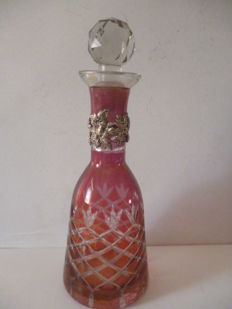 Rosolio bottle in silver and crystal