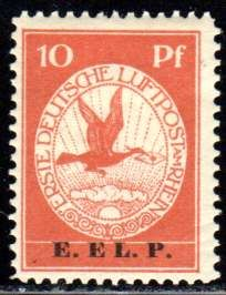 German Reich - 1912 - airmail on the Rhine and Main, 10 Pf. and 20 Pf. with overprint E.E.L.P