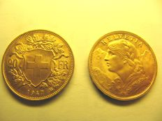 "Switzerland - 20 Francs 1947 ""Vreneli"" - Gold"