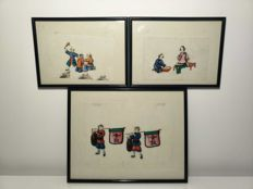 Set of 3 gouache paintings on rice paper - China - 19th century,