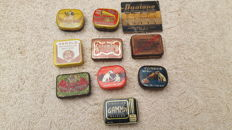 10 full gramophone needle tins from different countries 1910-1950