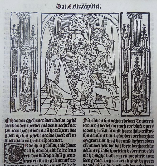 Master of Delft - Incunabula woodcut leaf from Vitae Christie with woodcut and woodcut initial - The Mocking of Jesus - 1488
