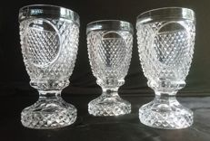 3 Heavy diamond cut crystal glasses