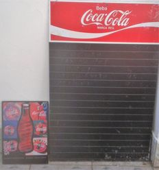 Metal plate Coca Cola 20th century andTable of the menu with chalk coca cola