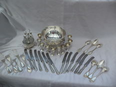 Old cutlery (1910) 23-pieced -P&L- METAL BLANC + ice bucket + drinking cups EPNS 10-pieces + set oil bottles 4 => stamped