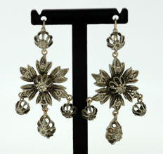 Antique Victorian Sterling Silver Ladies Earrings With Rose Cut Diamonds Circa. 1850's
