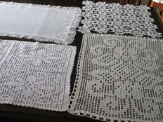 Lot of two table runners and two doilies crochet with white yarn.