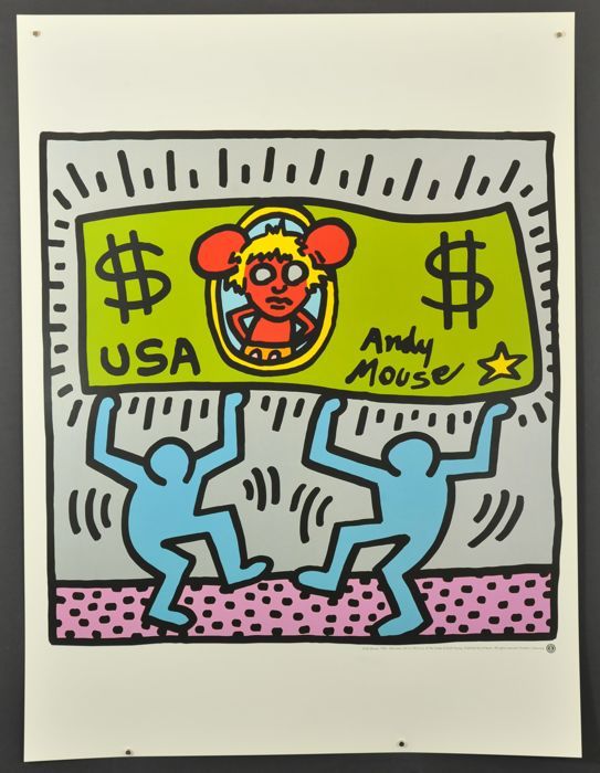 Keith haring 2x -  Andy Mouse and Untitled 1987
