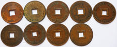 French Indochina – Sapeque 1887-1902 (series of 9 different coins) – Bronze.