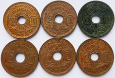 French Indochina - ½ cent 1935-1940 (complete series of 6 coins) - Bronze.