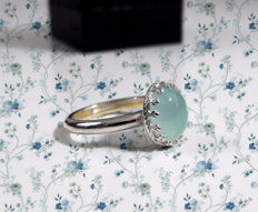 White gold ring (18 kt) with milk aquamarine (9 x 11) of 0.77 ct - choice of sizes