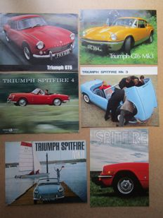 Triumph - lot of 6 brochures GT9, Spitfire, GT6 Mk3 / 1500 / MKII / 4 / Mk3 - from 1962 to 1976