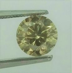1.01 ct - Round Brilliant Cut  - Natural  Fancy Green  - SI1 clarity  - Comes With AIG Certificate + Laser Inscription On Girdle