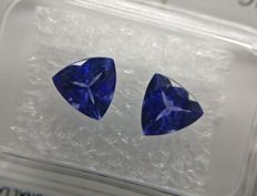Couple Tanzanite Purplish Blue total 1.73 ct