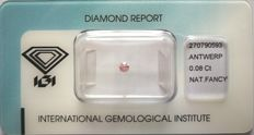 Natural Fancy Intense Pink Diamond 0.08ct  with IGI cert *** no minimum price***