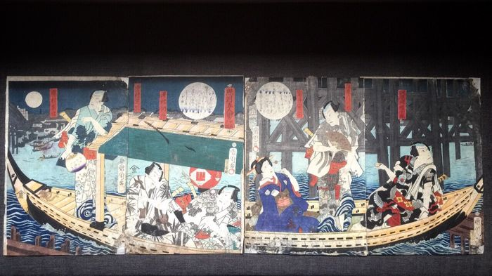 "Original woodblock tetraptych by Toyohara Kunichika 豐原 國周 (1835-1900) - ""Five men of the shining moon - Ryogoku"" - Japan - 1865"