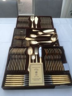 Beautiful 24 krt 108 piece golden cutlery including fish cutlery from Solingen
