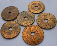 French Indochina – 1 cent 1902, 1910, 1921, 1922, 1926, and 1939 (batch of 6 coins) – bronze