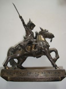 Silver statue of the last King of Burma/Mynmar - 260 mm
