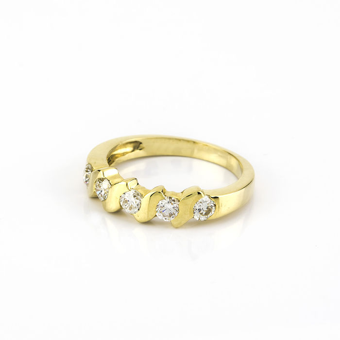 Yellow Gold Cocktail Ring With 5 Natural Diamonds Of 1 Ct With