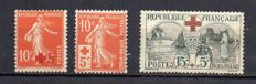France 1914/18 – Red Cross selection – Yvert no. 146, 147 and 156