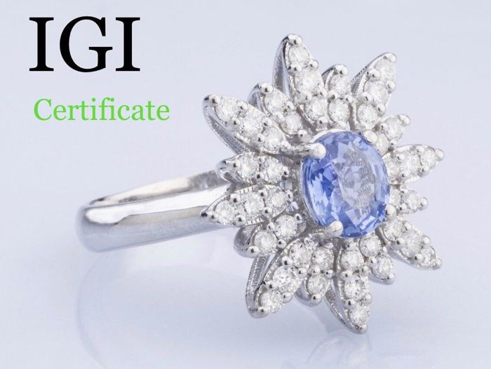 **1.18 Carat Natural good quality Sapphire And  0.70 Ct. Approx  Diamonds (D/F/G ,VS/SI) set in Very beautiful Ring