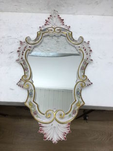 Italian hand-painted biscuit mirror, around 1950