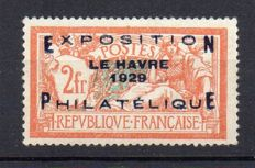 France 1929 - Exposition Philatélique du Havre signed several times, including by Calves -  Yvert no. 257A
