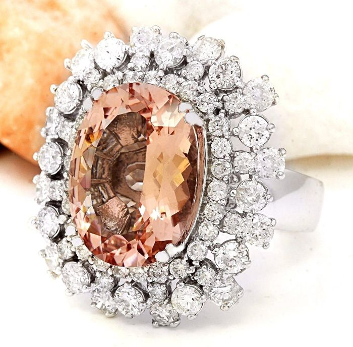 13 35 carat morganite and ring in 14k solid white