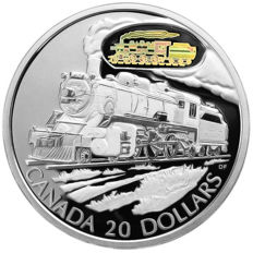 Canada - 20 Dollars 2002 'Canadian Pacific D-10 Locomotive - Rail Transportation' with hologram - 1 oz silver