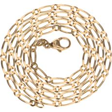 14 kt yellow gold, Figaro link necklace – Length: 48 cm.