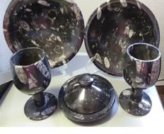 Set  of dishes, cups and pan carved and polished in fossil stone with ammonites and Ammonite.