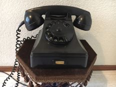 Bakelite PTT telephone, 1960s with velour wall support