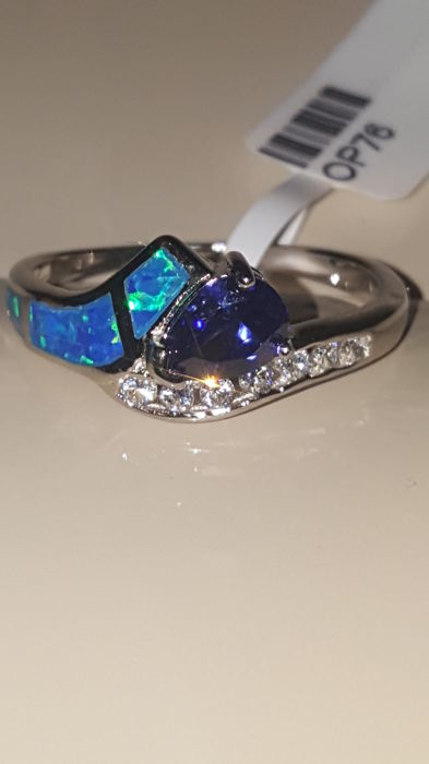 925 Sterling Silver ring with 5x7mm pear shape Tanzanite, white Topaz and opal inlay