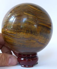 Large Tiger Eye sphere - Red and Gold colours - 10 cm - 1,150 g