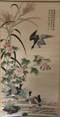 Hand painted reed and geese - China - late 20th century