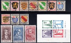 "French zone - 1945 - 1949 - general issue and Baden ""Reconstruction of the city of Freiburg"" block issue, cut, Michel block 1 B, Michel 1-13"