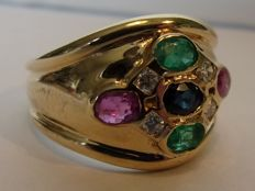 14 karat yellow gold ring with 4 diamonds, 2 rubies, 1 sapphire and 2 emeralds - ring size 17 mm.