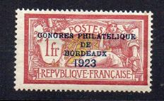France 1923 – Bordeaux philatelic exhibition, signed Calves – Yvert No. 182