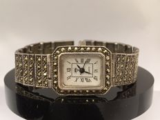 Silver women's watch in Art Deco style set with marcasites.