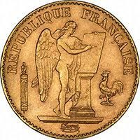Gold bullion coin: 20 French Franc - Angel 1876