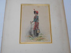 Signed colour lithograph - military of the 2nd Empire / Hunter on horseback, circa 1860