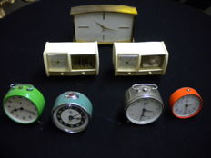 Seven table alarm clocks of various brands