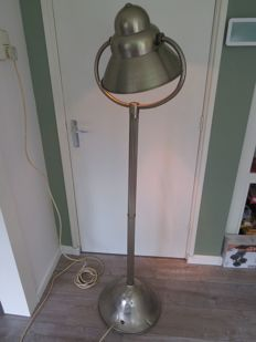 Industrial chrome and metal floor lamp - France - 20th century