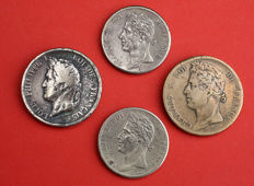 French colonies - 5 & 10 Cents 1825/1839 (lot of 4 coins) – Charles X & Louis Philippe I – Bronze